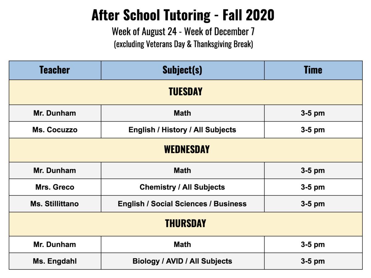 After School Tutoring Schedule