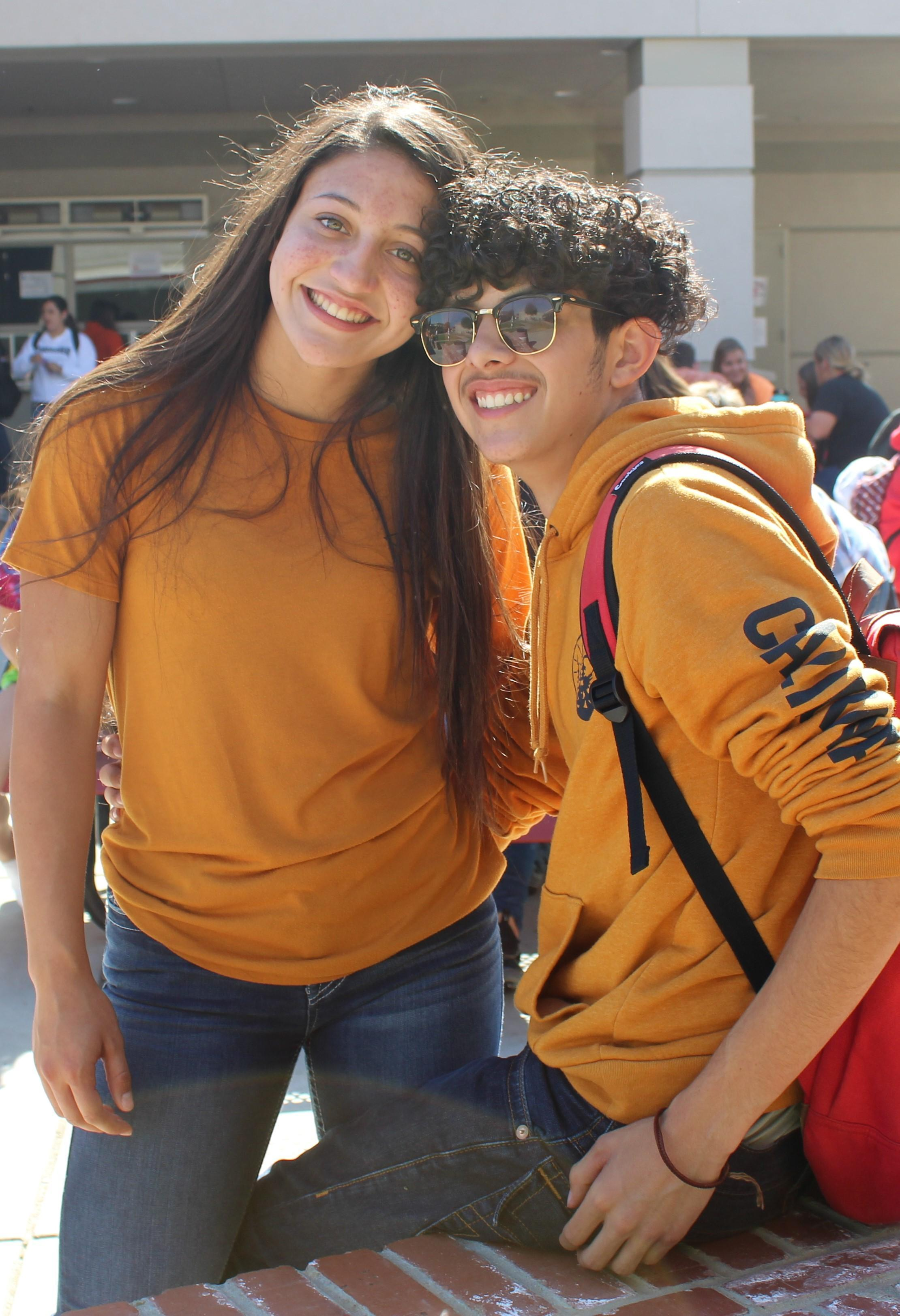 Students and staff wearing orange clothing to support awareness of Leukemia.