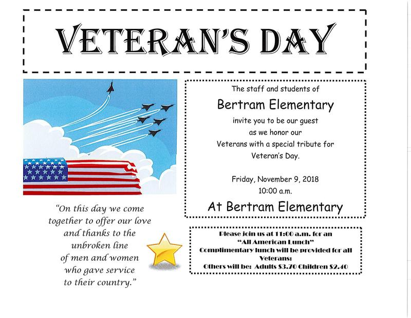 Veteran's Day Program - Friday, November 9, 2018 at 10:00 a.m. in the gym. Thumbnail Image