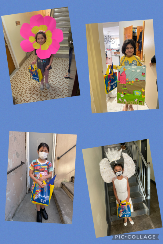 4 Students wearing costumes collage
