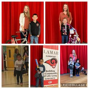 picture collage of backpack and bike winners with Mrs. Fowler, school principal