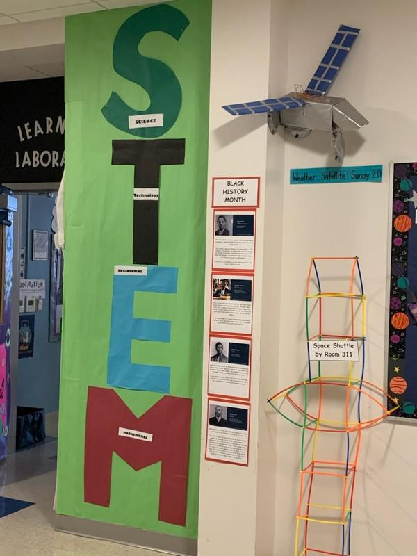 STEM tower next to Black History month display