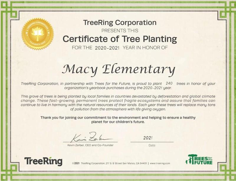 Certificate of Tree Planting for the 2020/2021 year in Honor of Macy Elementary School Featured Photo