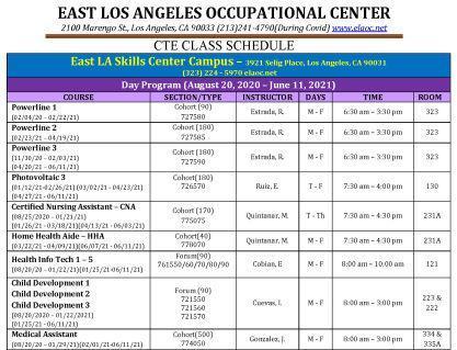Careers Class Schedule