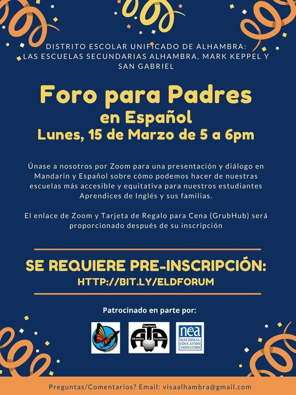 Spanish ELD Parent Forum *Click Here to Pre-register* Featured Photo