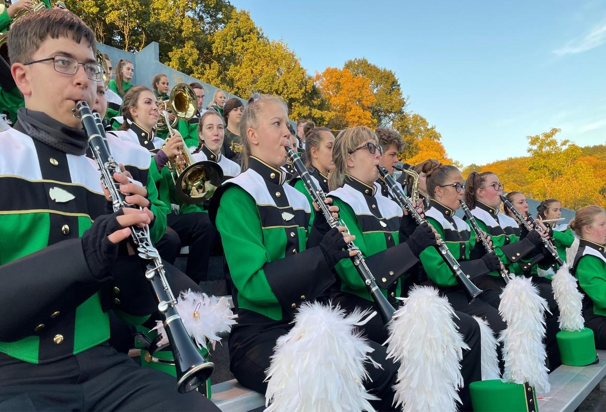 marching band performing at a game
