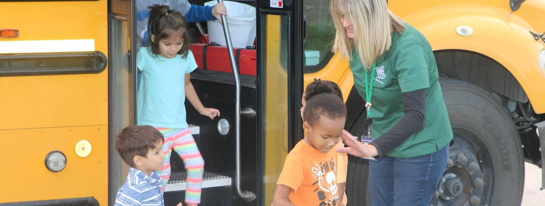 Practicing bus safety at TH Johnson Elementary
