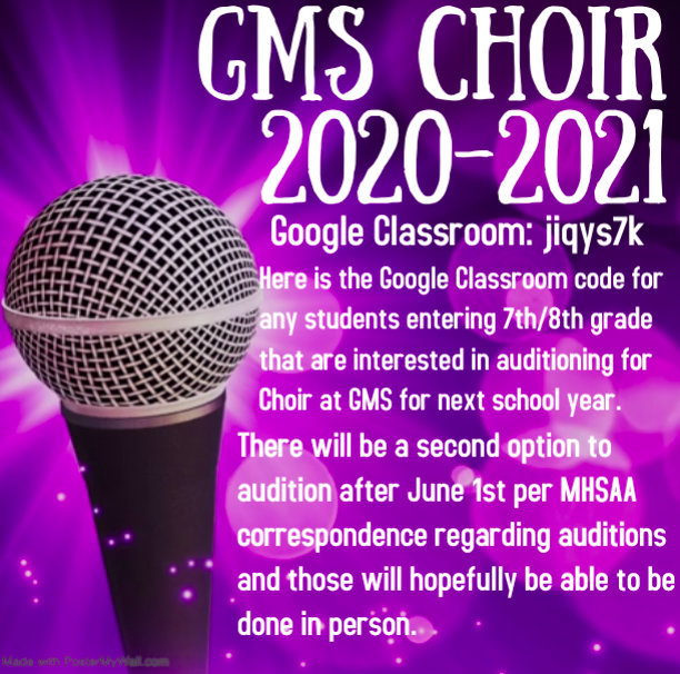 Google Classroom Code for Choir 2020 - 2021: jiqys7k