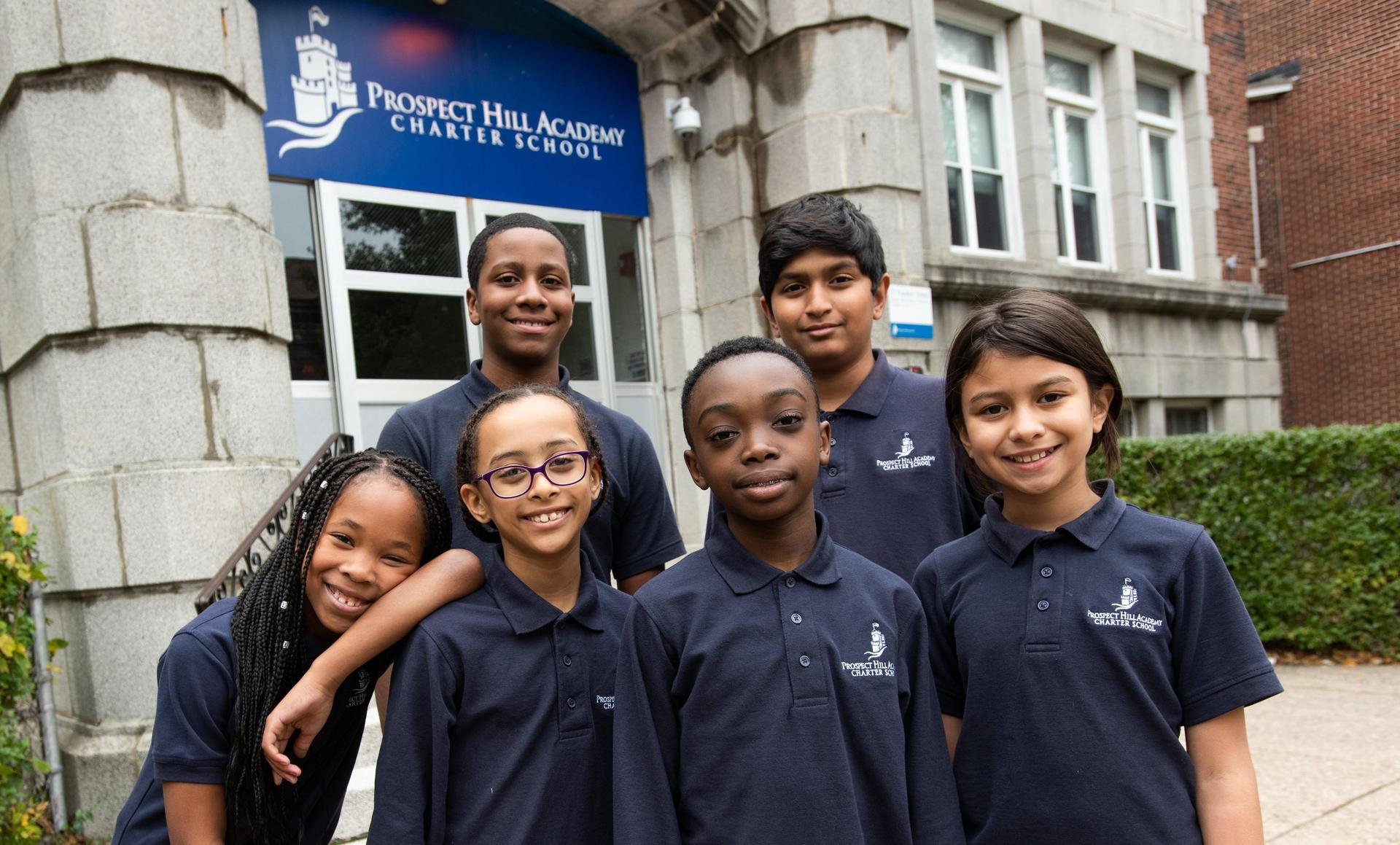Six Upper Elementary students outside the Franklin St campus.
