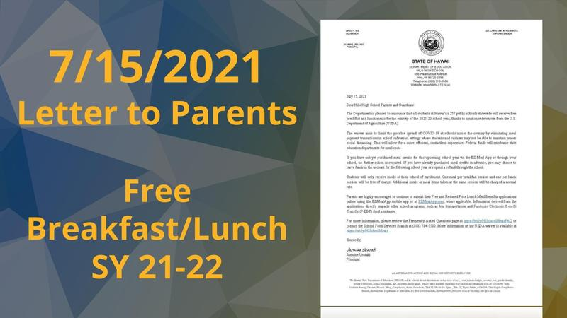 Letter to Parents: Free Breakfast and Lunch during SY 21-22 Featured Photo
