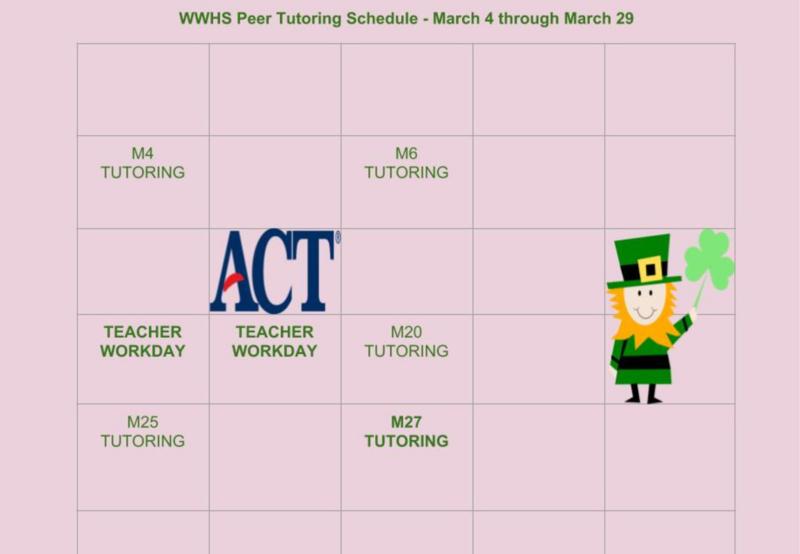 March Peer Tutoring Schedule Thumbnail Image