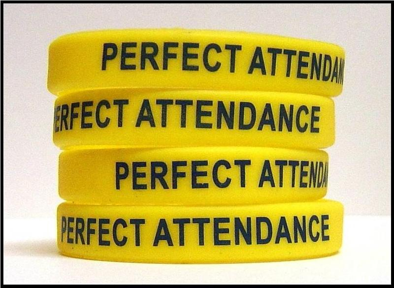 Writst bands stating Perfect Attendance
