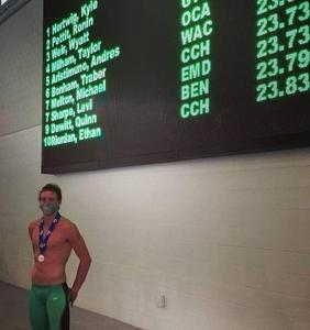 Ronin Pettit, silver medalist in 50m Freestyle