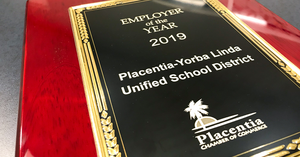 Placentia Chamber plaque for top workplace.