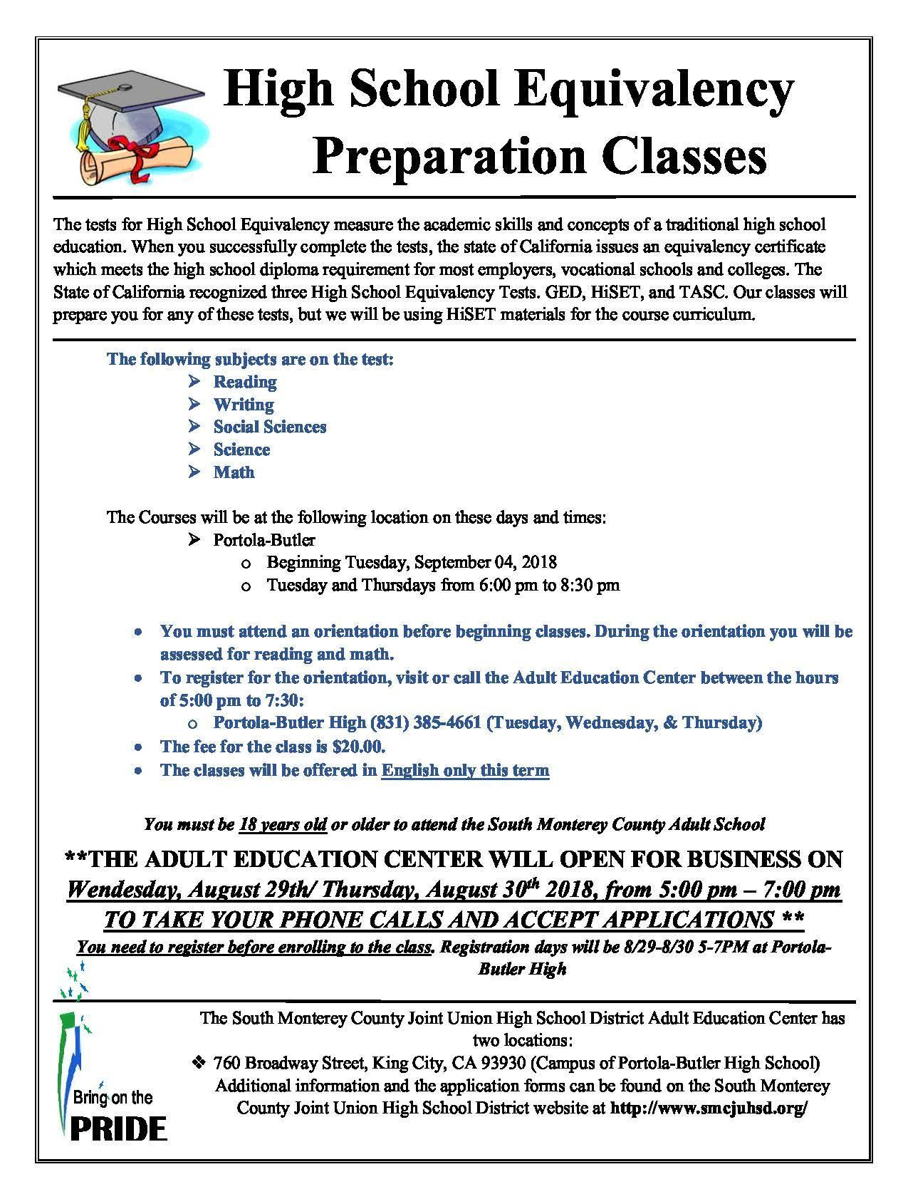 High School Equivalency Flyer