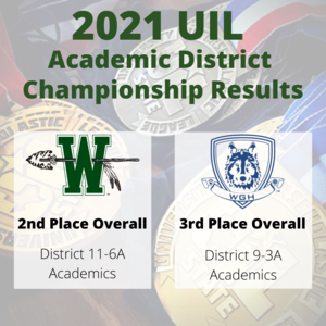 graphic describing the 2021 UIL academic district championship results for WHS & GHS