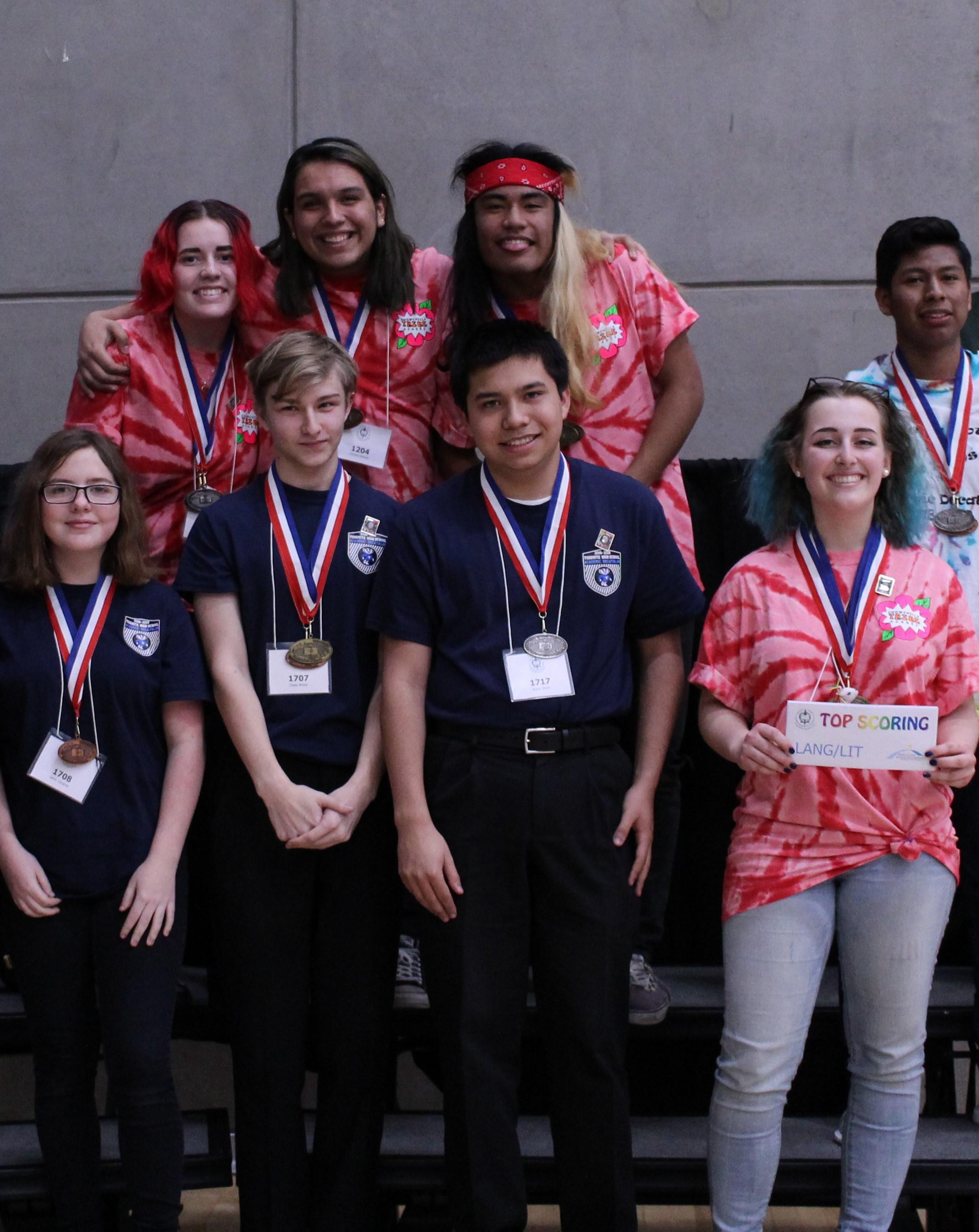 Language/Literature Medalists: Emma McGraw, Honors Silver; Jovanny Martinez, Scholastic Bronze; Brandon Nicholas, Scholastic Gold; Madison Ingraham, Honors Gold