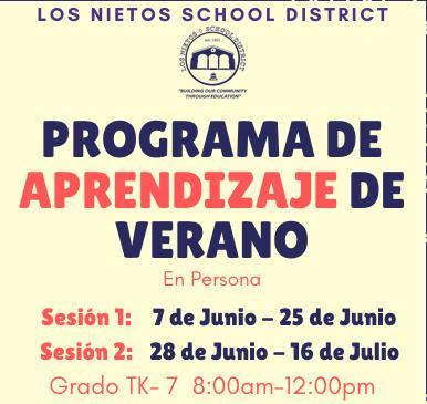 Summer Learning Program Flyer in Spanish