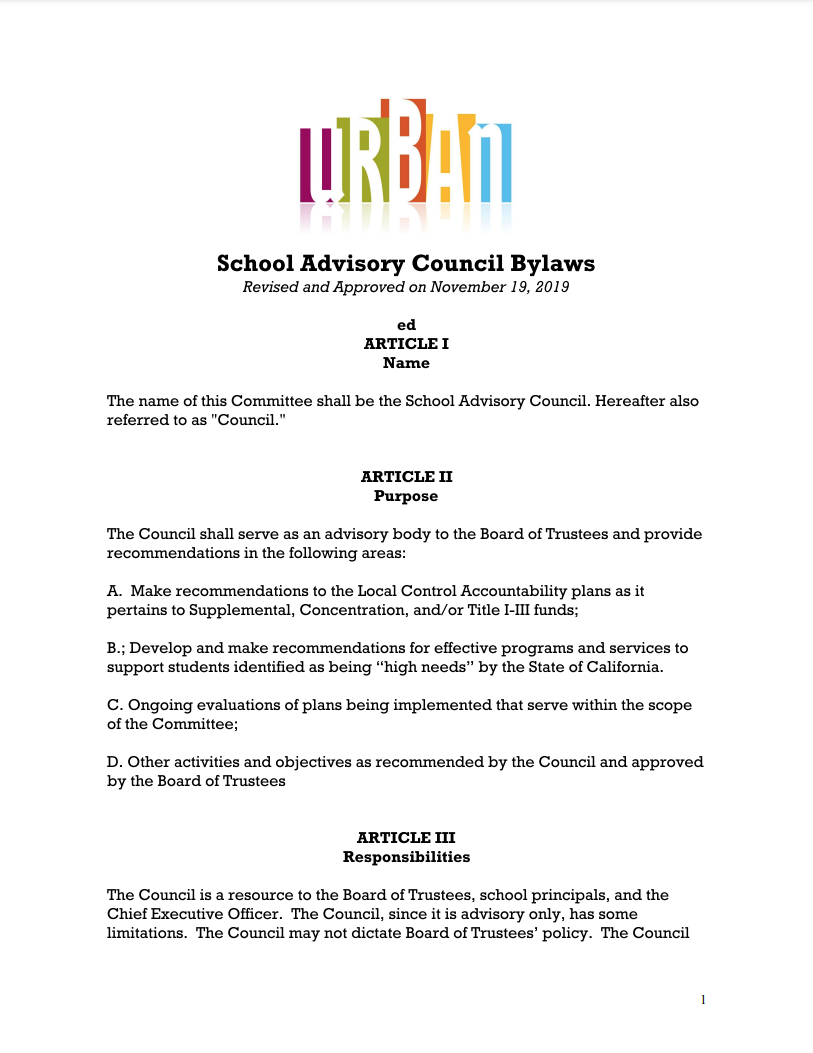 Urban Discovery School Advisory Council Bylaws