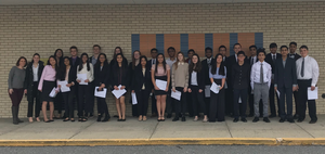 36 Bensalem High School students and their advisor dressed in black and white. They were participants in the PJAS Regional Competition.