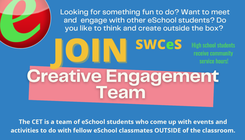 Flier announcing recruitment for SWCeS Creative Engagement Team. For more information contact Cindy at chouston@southwestcoloradoeschool.org