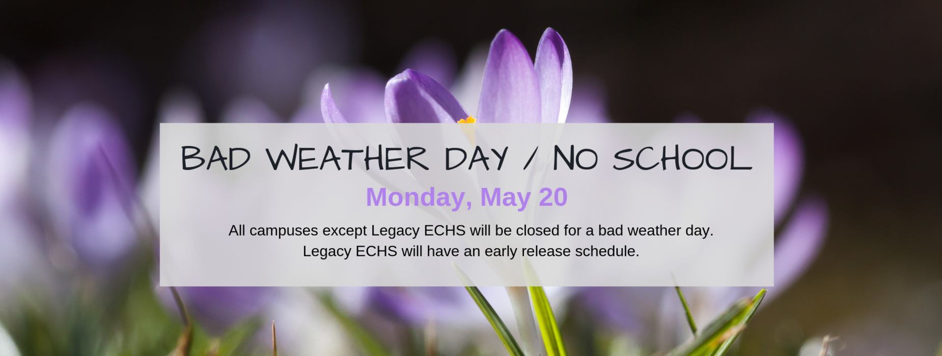 Bad Weather Day- May 20