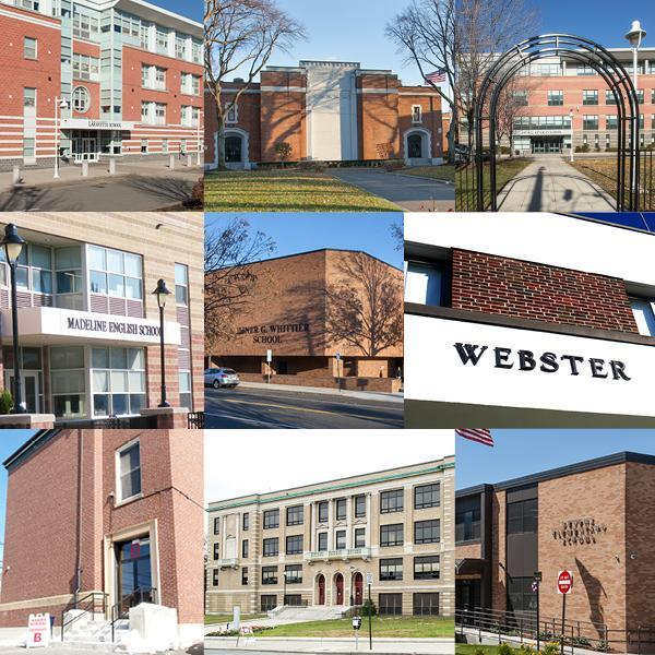 A collage of the exteriors of Everett's schools, except EHS