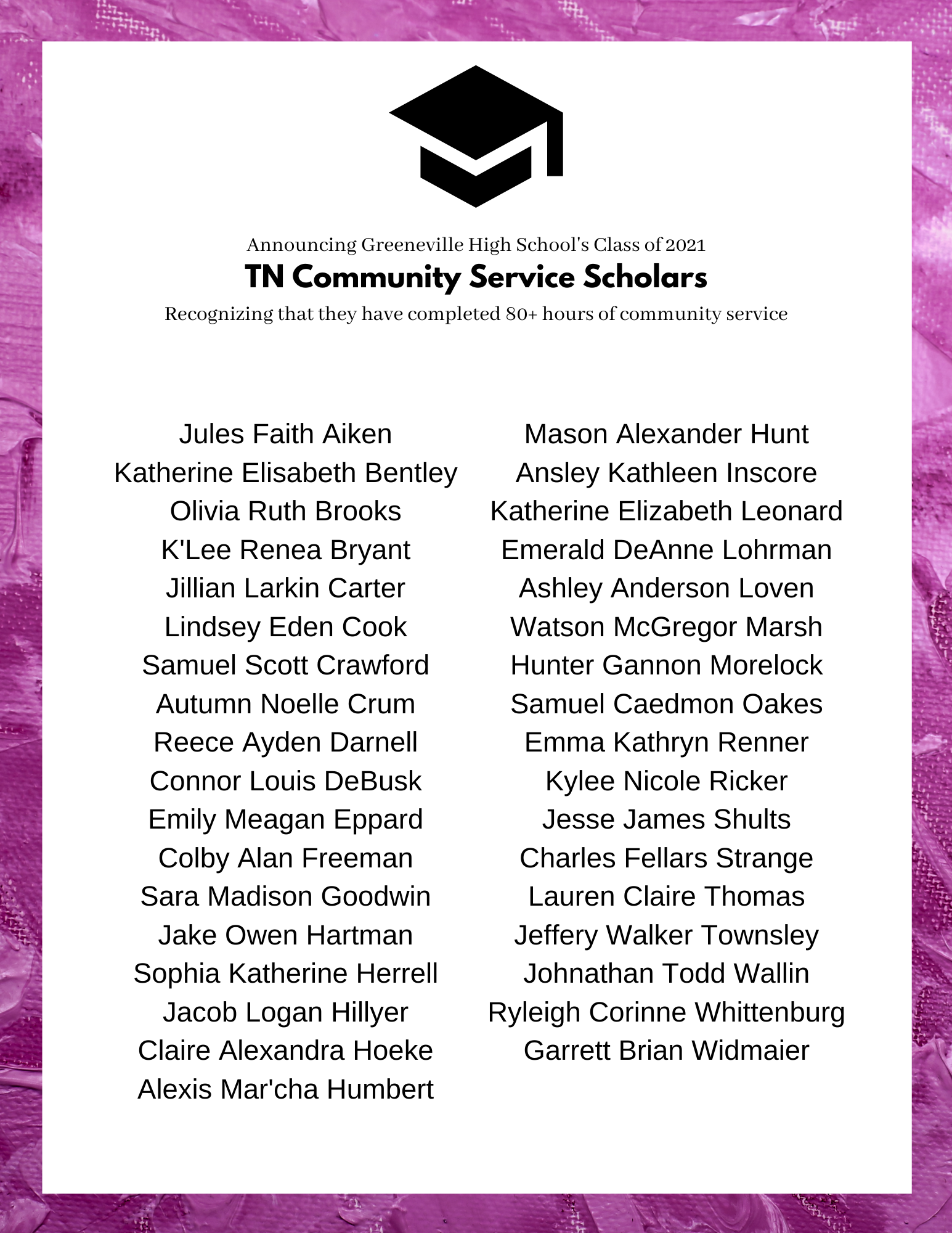 Class of 2021 TN Community Service Scholars