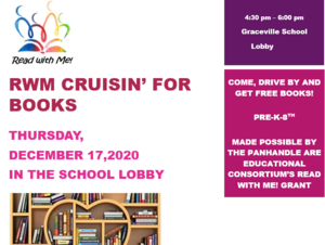 Flyer picture for Cruisin for books December 17 in school lobby
