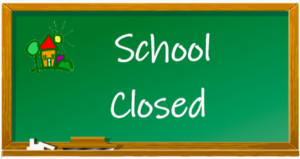 SCHOOL CLOSED ON CHALK BOARD IMAGE ENGLISH