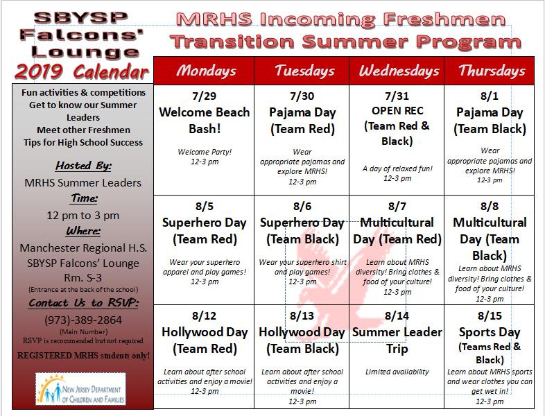 Summer program calendar