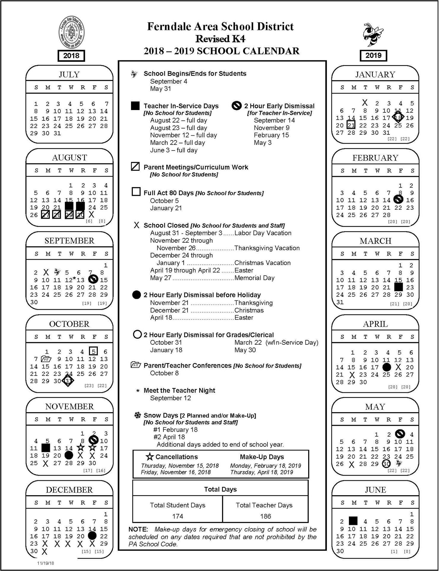 2018-2019 K4 Revised Calendar