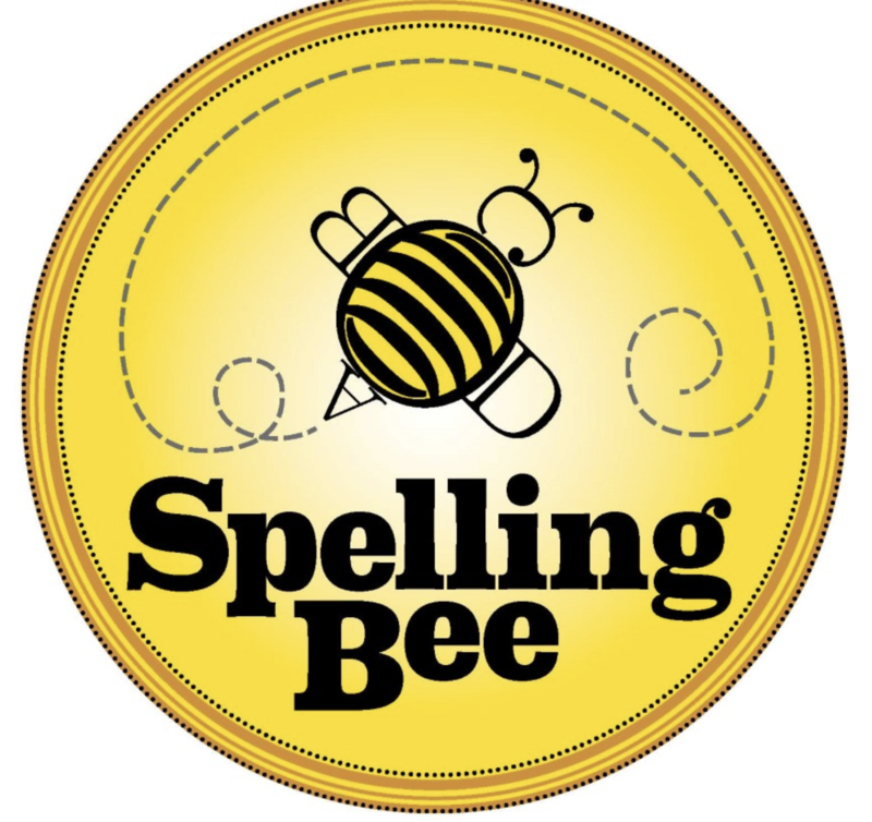 yellow circle with bee in the middle and words spelling bee at bottom