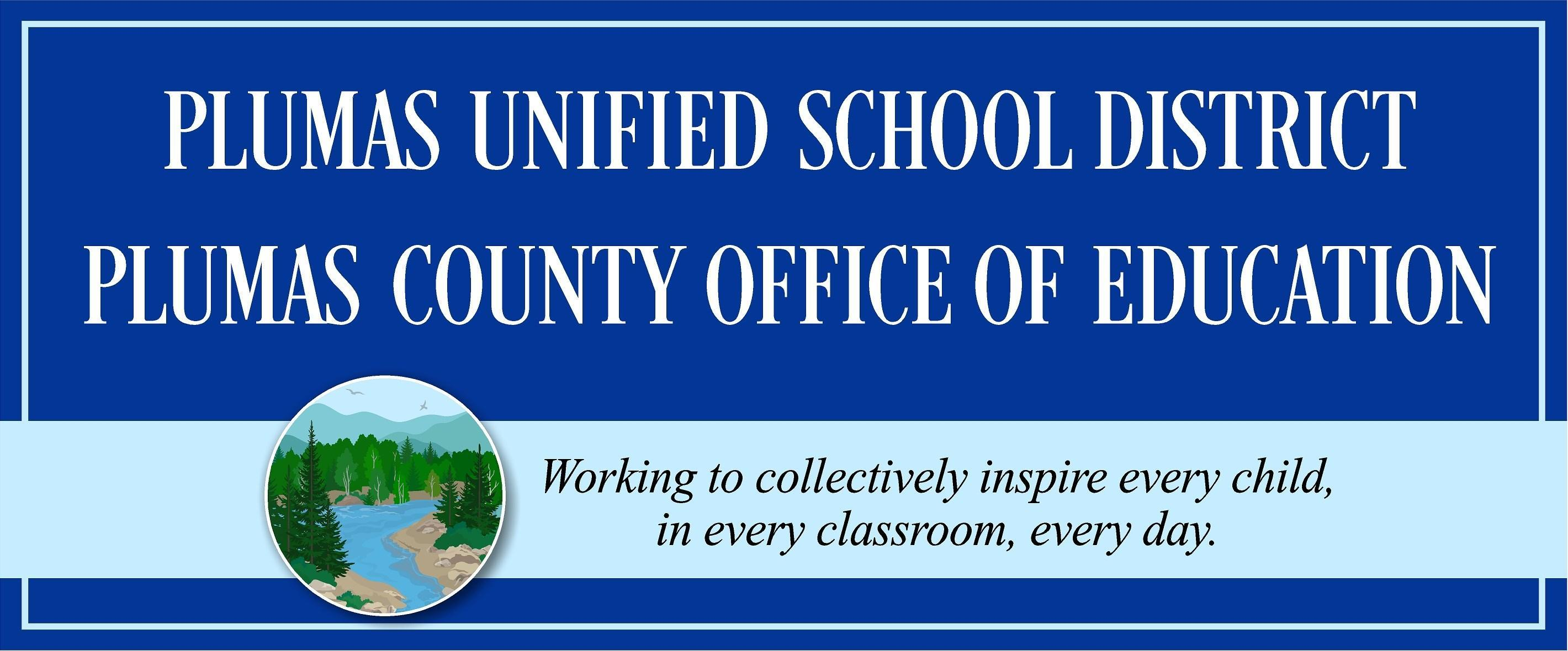 Plumas Unified School District banner and logo