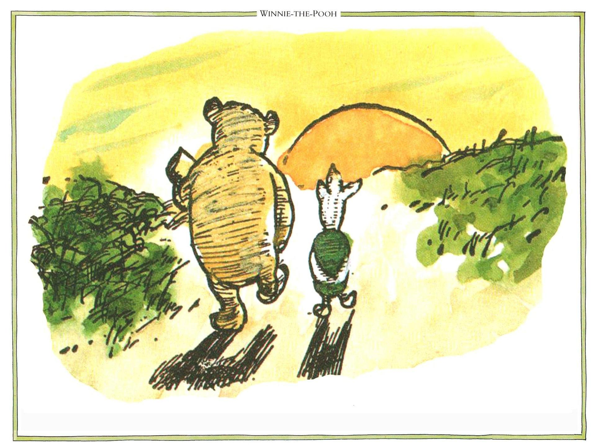 Pooh and Piglet walking into the sunset