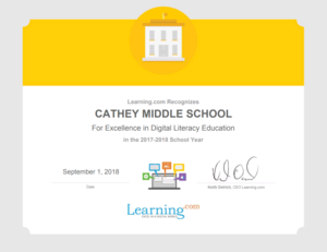 Learning dot com Excellence in Digital Literacy Education Award Certificate