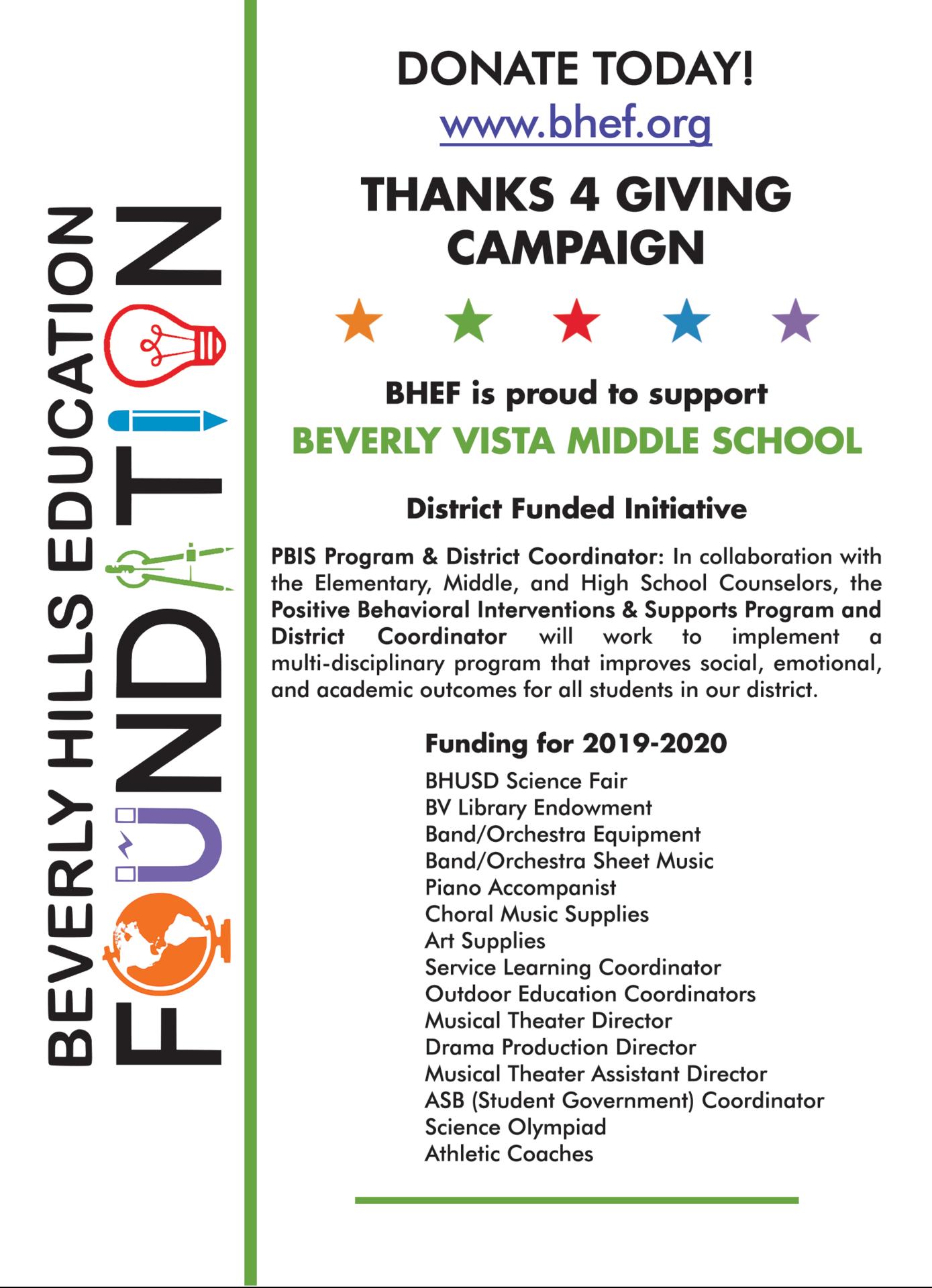 BV Funded Programs