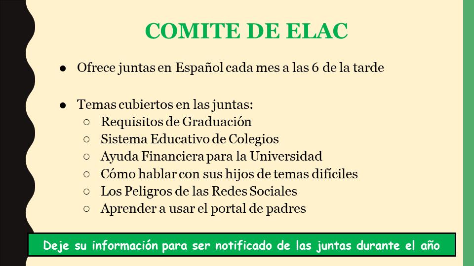 ELAC Committee power point slide (Spanish)