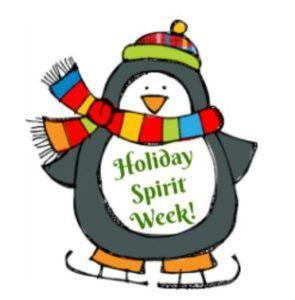 Penguin with Holiday Spirit Week sign
