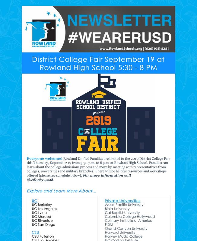 RUSD News 9/18/19 Issue - District College Fair / Shelyn's 50th & More! Thumbnail Image