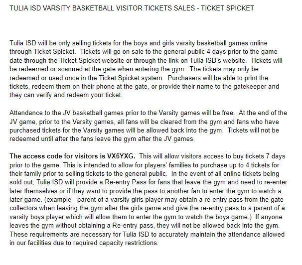 Tulia ISD  Basketball Varsity Ticket Sales Featured Photo