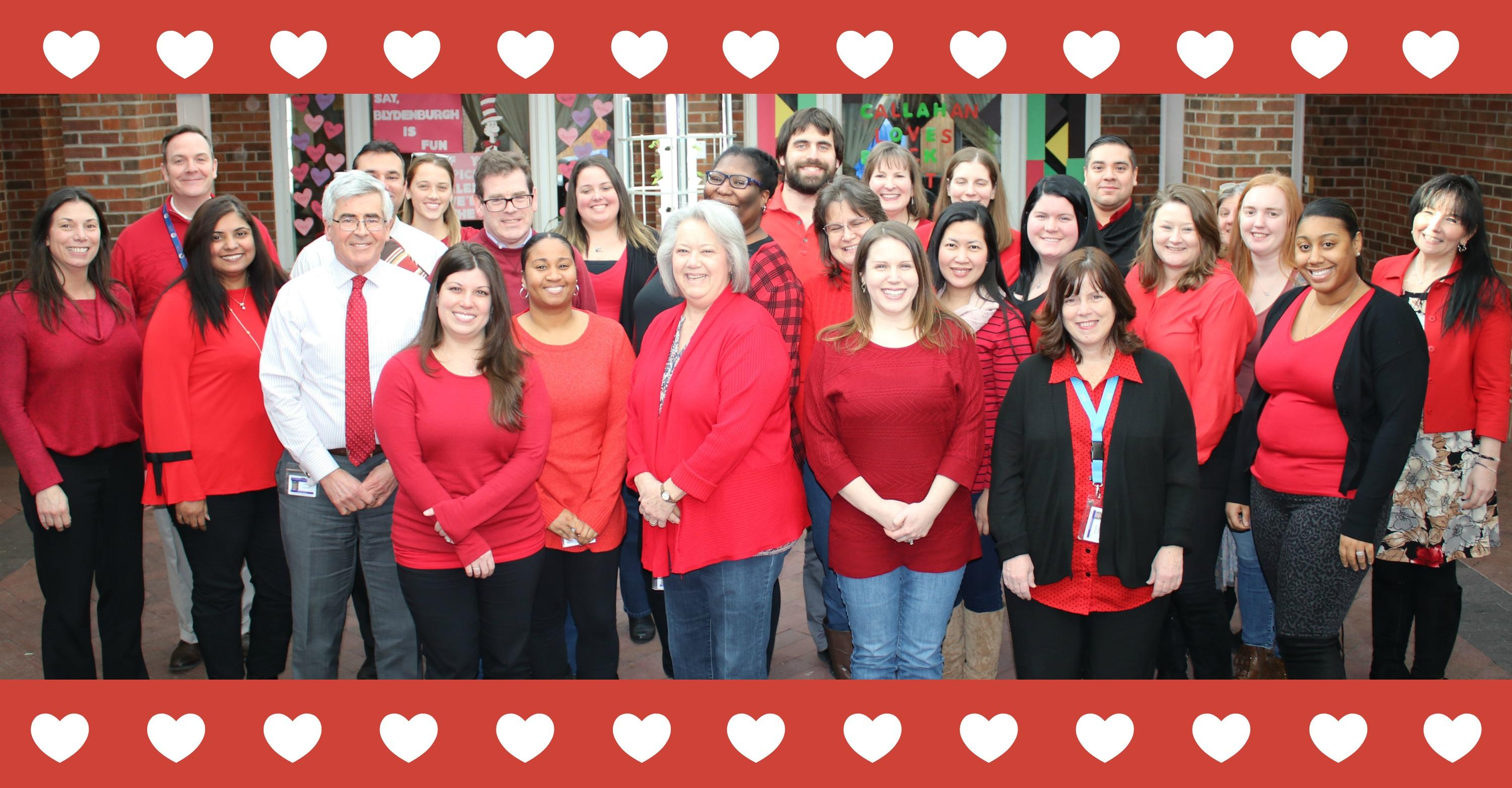Group of staff for Go Red Day