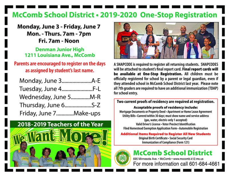 McComb School District One-Stop Registration News 2019-2020