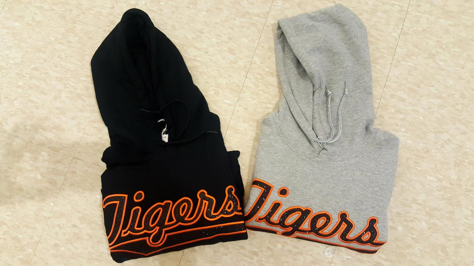 Hoodie  Embroidered Glitter font Colors black and grey Sizes xs- xl