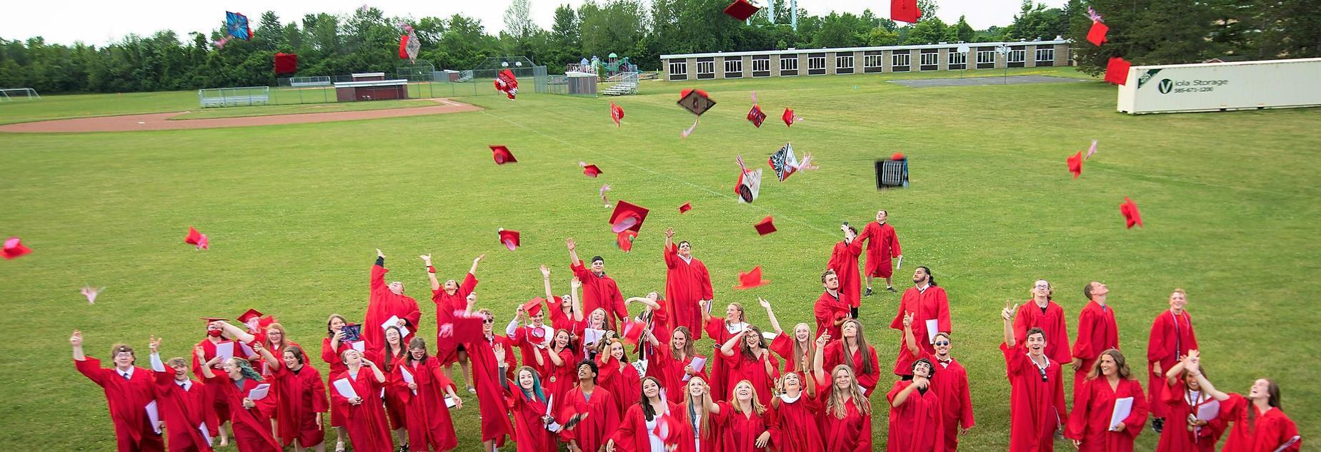 Cap toss at graduation 2021