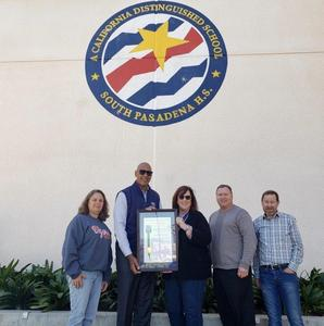 Janet Wichman, Chris Holden, Janet Anderson, Geoff Yantz, Jon Primuth in front of SPHS with proclamation