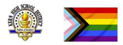 Kern High Logo and LGBTQ+ Pride Flag