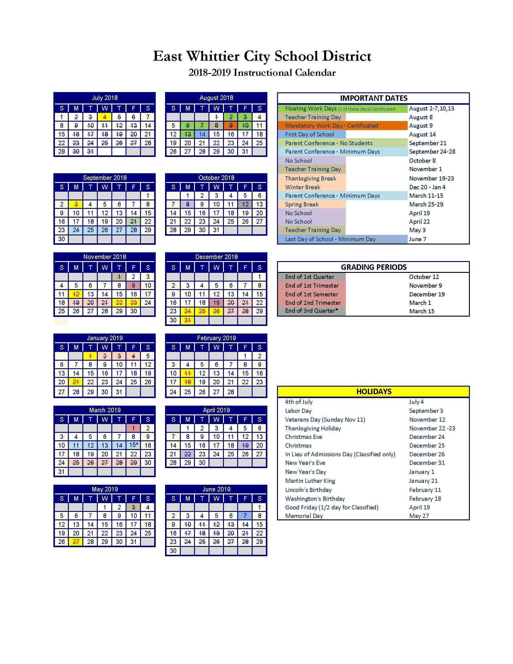 2018-2019 Instructional Calendar