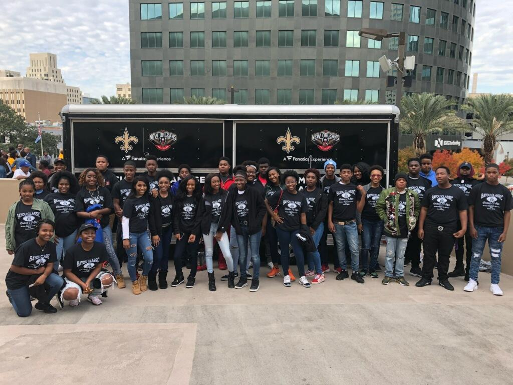 A photo of the Baker High School Band at the 2018 Bayou Classic in New Orleans