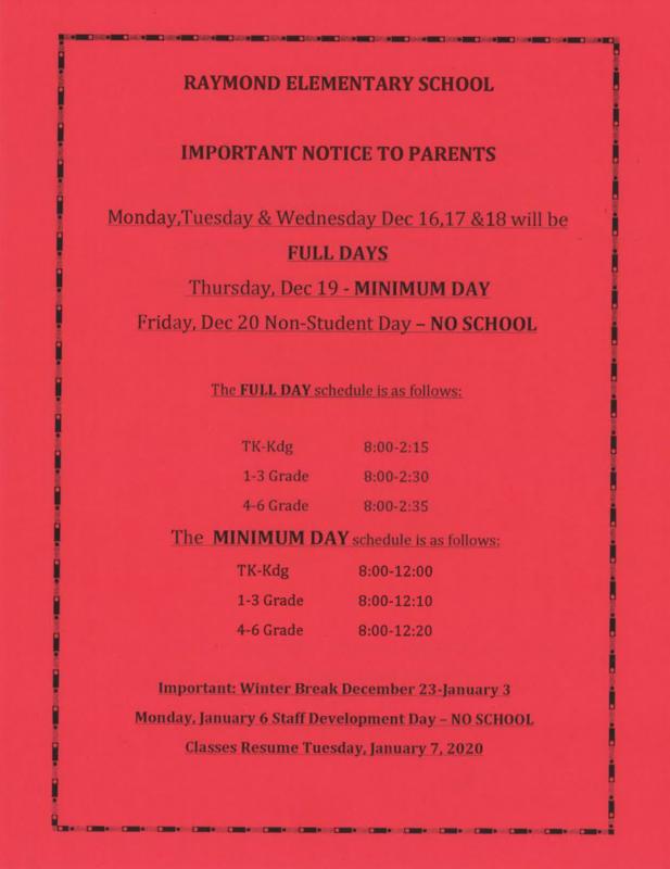 Raymond Schedule Week of Dec. 16